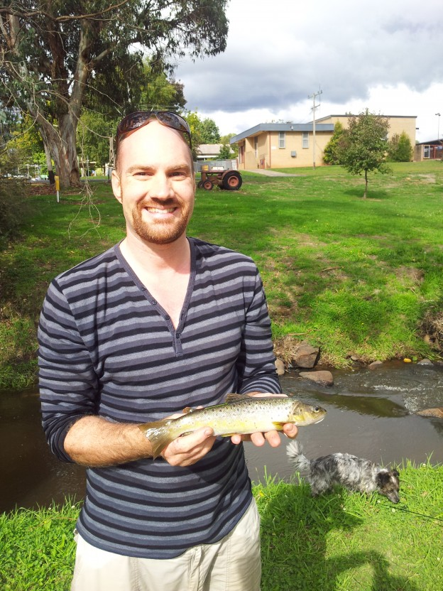 Simon Kaminskas with trout (Tumbie)